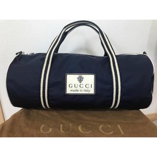 グッチ(Gucci)のGUCCI グッチ ナイロン ボストンバッグ ネイビー×ホワイト BAG(ボストンバッグ)
