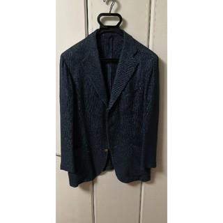 バーニーズニューヨーク(BARNEYS NEW YORK)のベルベスト ネイビージャケット 麻絹 46ショートサイズ 裏地全無の春夏仕様(テーラードジャケット)