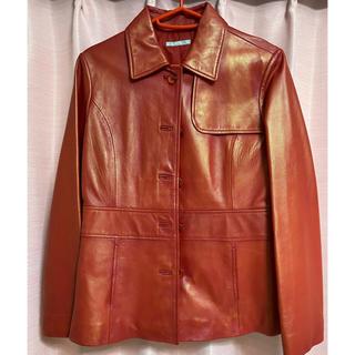エンプリーベ(en prive)の羊皮 赤ショートコート ジャケット en prive(レザージャケット)