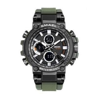 SMAEL 1803 スポーツウォッチ(アーミーグリーン)(腕時計(デジタル))
