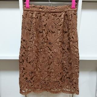 ミスティウーマン(mysty woman)のブラウン 花柄レースタイトスカート(ひざ丈スカート)