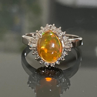 PT900 ファイヤーオパール  ダイヤモンド リング(リング(指輪))