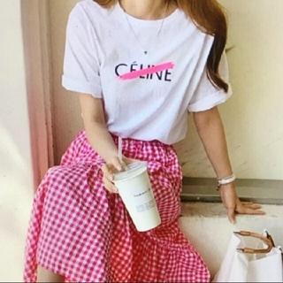ロゴTシャツ CELINE ロゴ パロディTシャツ(Tシャツ(半袖/袖なし))