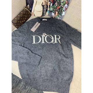 Dior - Dior セーター ニット ロゴ 刺繍 長袖   人気   グレー 男