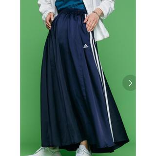 アディダス(adidas)のadidas ロングサテンスカート ブルー Mサイズ(ロングスカート)