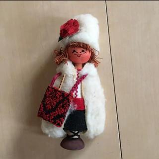 ミナペルホネン(mina perhonen)のポーランド 人形 ビンテージ ドール 木製 民芸品 伝統 刺繍 置物 土産(置物)