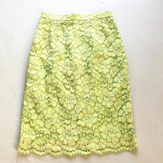アナイ(ANAYI)のアルアバイル レースタイトスカート イエロー2(ひざ丈スカート)