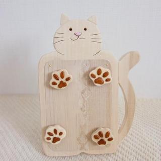 木製ネコのマグネット写真立てA 猫グッズ(インテリア雑貨)
