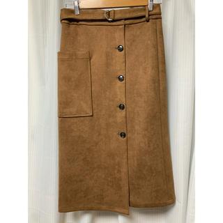 ローズバッド(ROSE BUD)の新品未使用 タイトスカート ROSEBUD ローズバッド スエード キャメル(ひざ丈スカート)