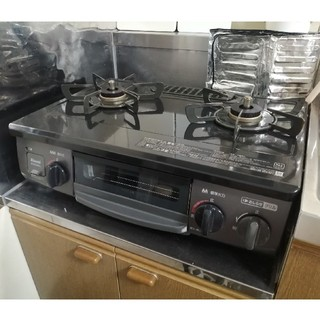 リンナイ(Rinnai)の中古 リンナイ ガステーブル NTM34BKL 使用期間約1年 都市ガス(調理道具/製菓道具)