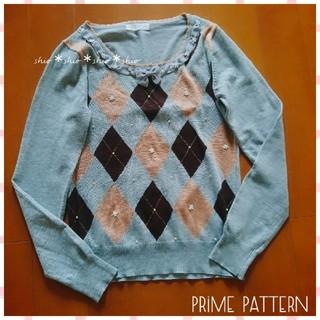プライムパターン(PRIME PATTERN)の《PRIME PATTERN》胸元リボン お花 アーガイル柄 長袖ニット M(ニット/セーター)