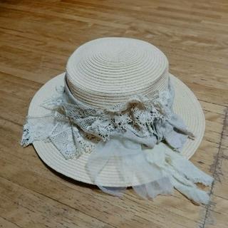 ネストローブ(nest Robe)のpollenbienco/リネンとアンティークレースつば広カンカン帽 (麦わら帽子/ストローハット)