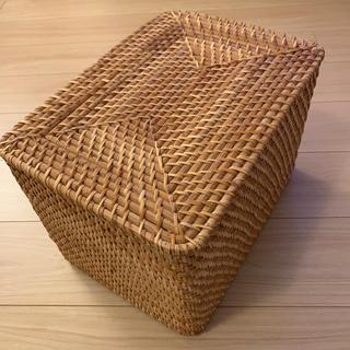 ムジルシリョウヒン(MUJI (無印良品))の無印良品 重なるラタン長方形バスケット・大 蓋付き(バスケット/かご)