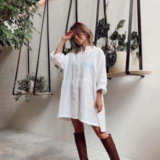 アリシアスタン(ALEXIA STAM)のアリシアスタン♡Stand Collar Shirt Dress White(ロングワンピース/マキシワンピース)