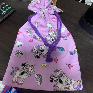 ディズニー(Disney)のミニー×ユニコーン 大きめ巾着(外出用品)