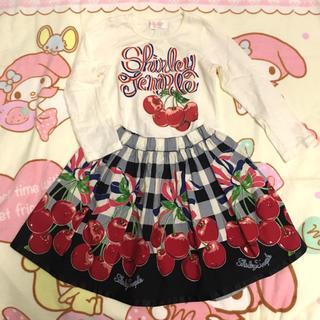 シャーリーテンプル(Shirley Temple)のチェリーギンガムチェックセットアップ110cmシャーリーテンプル (Tシャツ/カットソー)
