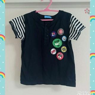 フーセンウサギ(Fusen-Usagi)のフーセンウサギ♪袖ボーダーTシャツ♪黒♪半袖♪110サイズ(Tシャツ/カットソー)