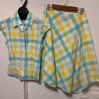 エムズグレイシー(M'S GRACY)のギンガムチェックのシャツのセットアップ(セット/コーデ)