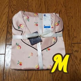 ジーユー(GU)のGU★大人気!サテンパジャマ(アプリコット)(半袖+長ズボン)ピンクM(パジャマ)