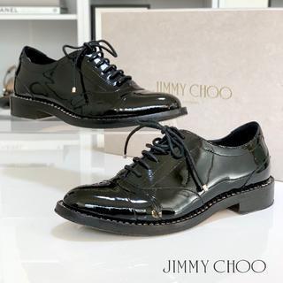 ジミーチュウ(JIMMY CHOO)の1761 美品 ジミーチュウ エナメル ラインストーン ドレスシューズ 黒(ローファー/革靴)