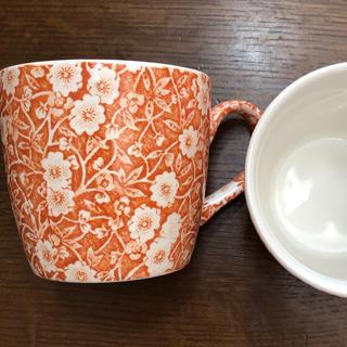 ウェッジウッド(WEDGWOOD)のバーレイ  Burleigh オズボーンマグ キャリコ オレンジ 2個(グラス/カップ)