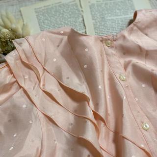 ロキエ(Lochie)のvintageレトロ古着pinkフリル襟クラシカルブラウス(シャツ/ブラウス(半袖/袖なし))