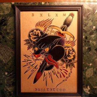 バックドロップ(THE BACKDROP)の「ブラックパンサー&スワロー A4サイズ 刺青 タトゥーフラッシュ(ミラー)