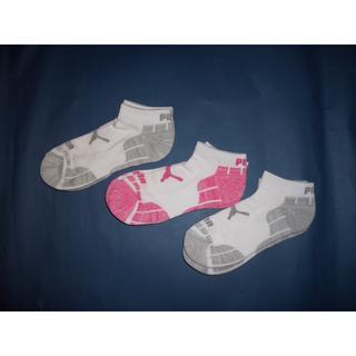 プーマ(PUMA)のPUMA プーマ★くるぶし丈レディースソックス 3P ピンク&グレー(ソックス)