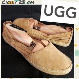 アグ(UGG)の♡UGG♡cicily シープスキン レザー編み上げシューズ レディース23㎝(ローファー/革靴)