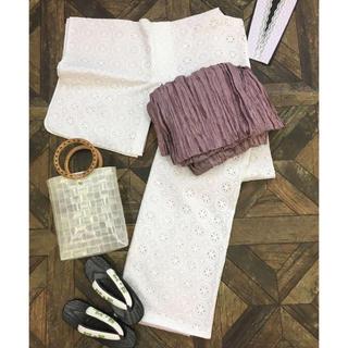 フリフ(ふりふ)のコットン刺繍レース  袷着物 浴衣 白×ピンク(浴衣)