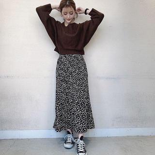 フィフス(fifth)のfifth 新品 レオパードプリーツスカート ブラック♡(ロングスカート)