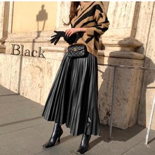 セール!レザープリーツ ロングスカート フェイクレザー 革 おしゃれ 新品 黒(ロングスカート)