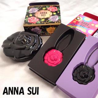アナスイ(ANNA SUI)のアナスイ❤ミラー付きミニルージュ302V02ファンデーションケースブラックピンク(口紅)