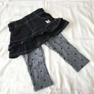 サンカンシオン(3can4on)の3can4on★レギンス付きスカート 90★デニム風 グレー ハート (スカート)