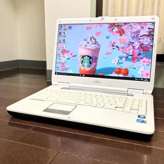 フジツウ(富士通)の光沢ホワイト、wi-fiありWindows10 office DVD焼 コア2(ノートPC)