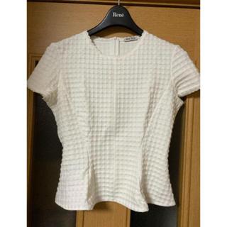 ミュウミュウ(miumiu)のmiumiu ペプラム カットソー ニット プルオーバー スカラップ Tシャツ(カットソー(半袖/袖なし))