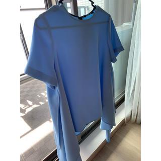バーニーズニューヨーク(BARNEYS NEW YORK)のyokochan Half-sleeve Flared Blouse blue(シャツ/ブラウス(半袖/袖なし))