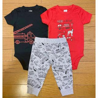 carter's - 新品 ★ 90 24M Carter's 3点セット ロンパース パンツ 赤 黒