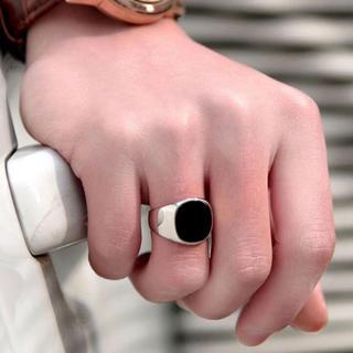スクエアリング 印台カレッジリング ✨シルバー✨メンズ(リング(指輪))