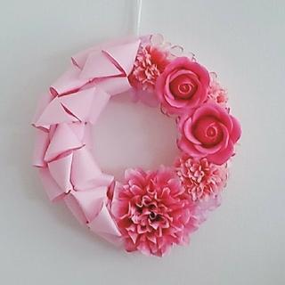 天音さま専用♪ ピンクのフラワーリボンリース(リース)