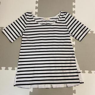 マーキュリーデュオ(MERCURYDUO)のバックプリーツボーダーTシャツ(Tシャツ/カットソー(半袖/袖なし))