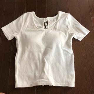エゴイスト(EGOIST)のエゴイスト Tシャツ カットソー トップス ホワイト 白 リブ バックスタイル(カットソー(半袖/袖なし))