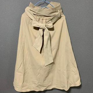 ダズリン(dazzlin)のdazzlin ウエスト リボン スカート ベージュ ボタン付(ひざ丈スカート)