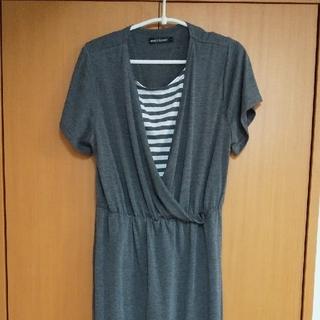 授乳服 ワンピース LLサイズ チャコールグレー(マタニティワンピース)