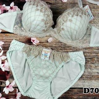 042★D70 M★美胸ブラ ショーツ 谷間メイク ダイアゴナルチェック 緑系(ブラ&ショーツセット)