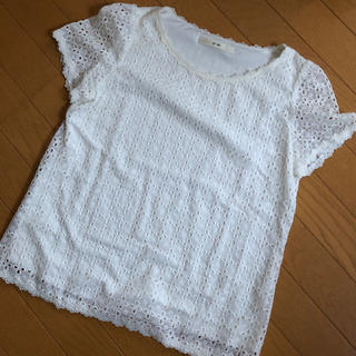 エフデ(ef-de)のレース Tシャツ 白 裏地付き(Tシャツ(半袖/袖なし))