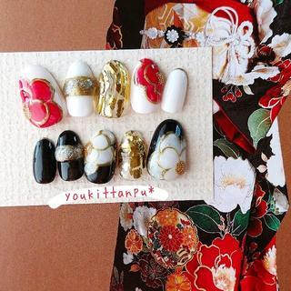 絢爛*ネイルチップ 付け爪 つけ爪 結婚式 ブライダル ウェディング 白無垢 (ネイルチップ)
