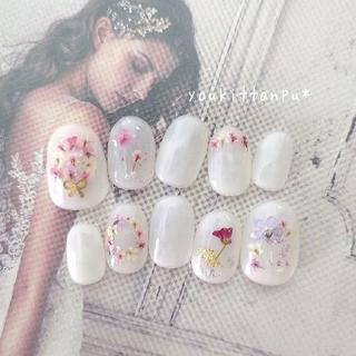 押し花 ケイトリン*ネイルチップ 付け爪 つけ爪 結婚式 ブライダル ホワイト(ネイルチップ)