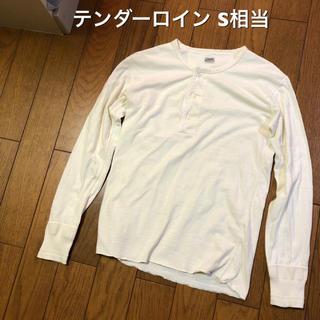 テンダーロイン(TENDERLOIN)のSサイズ相当!テンダーロイン 古着長袖ヘンリーネックTシャツ ロンT アイボリー(Tシャツ/カットソー(七分/長袖))