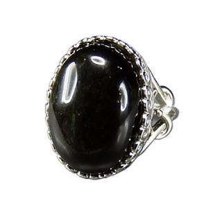 魔除けAAAオブシディアン大粒黒系指輪天然石リング約13.5号3(リング(指輪))